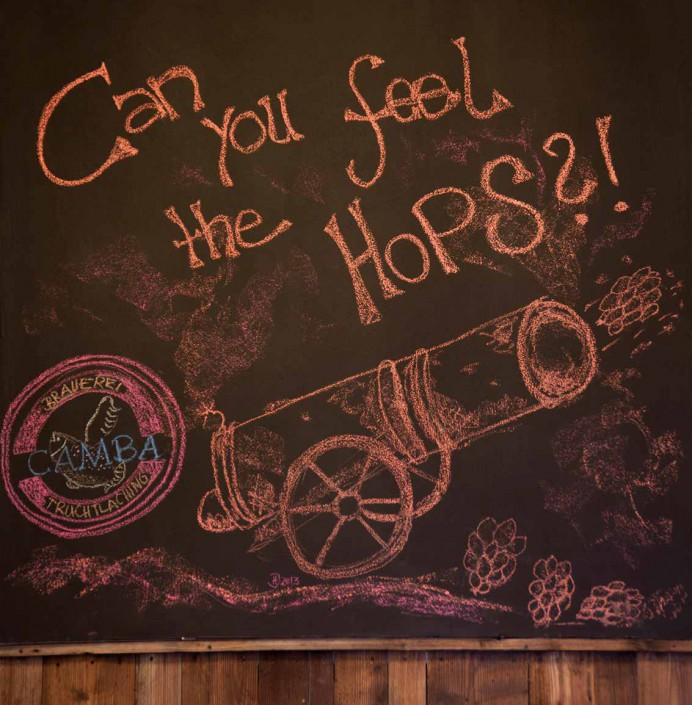 Chalk drawing of a cannon that shoots with hops.
